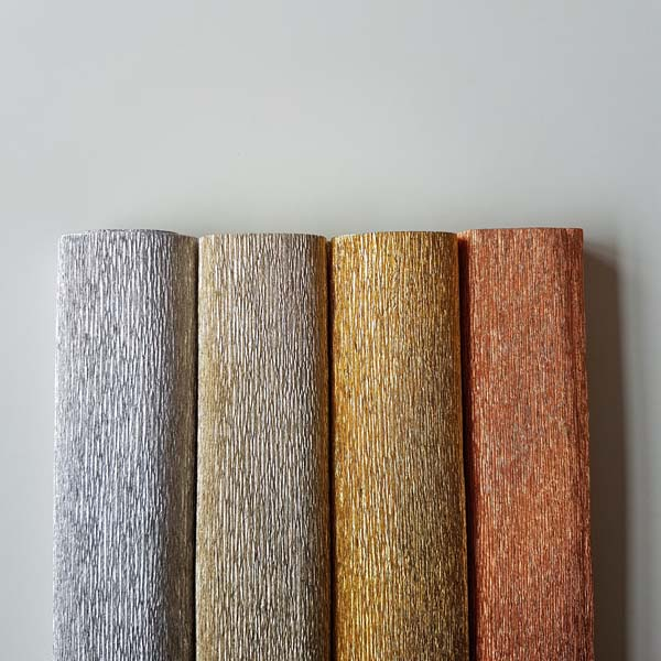 metallic florist crêpepapier - zilver, platinum, antico gold, copper