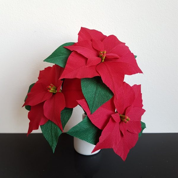 kerstdecoratie papieren kerstster poinsettia crêpepapier