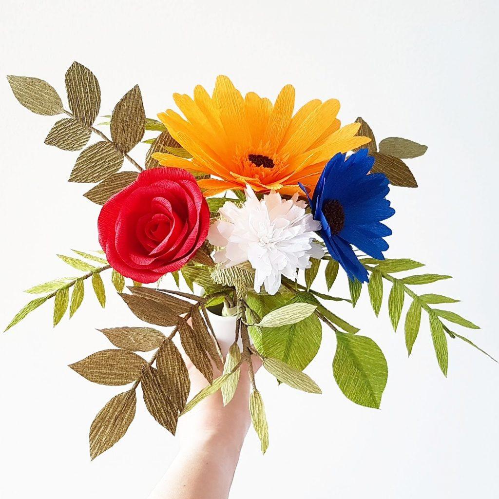koningsdag boeket papieren bloemen