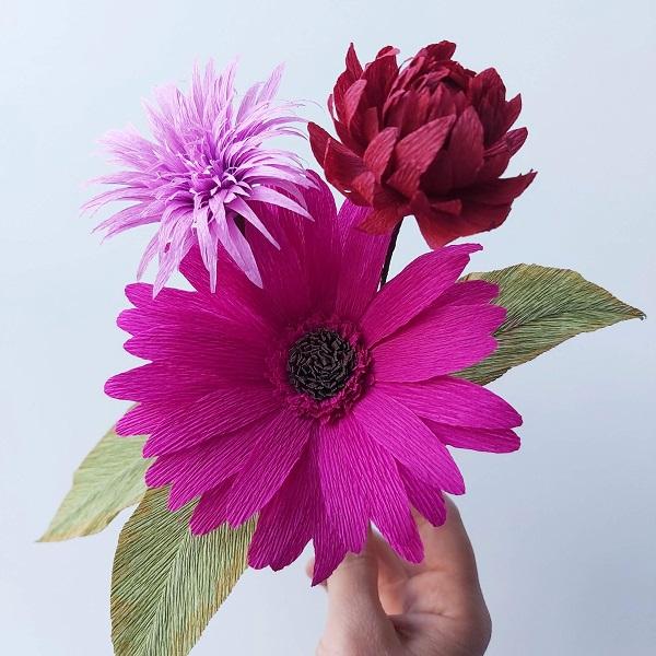 papieren bloemen boeket crêpepapier