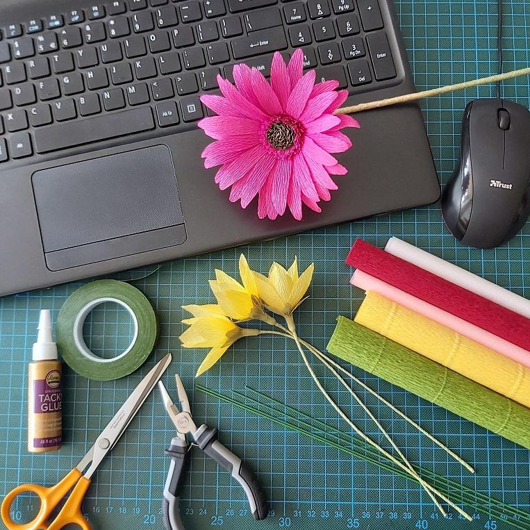 online workshop papieren bloemen maken crêpepapier