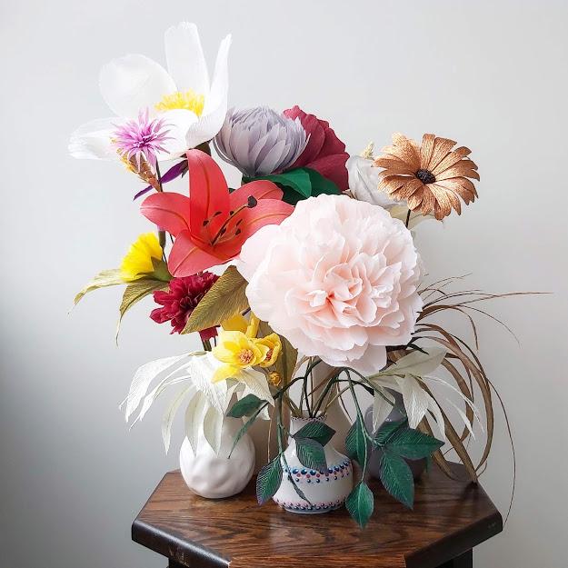 boeket papieren bloemen