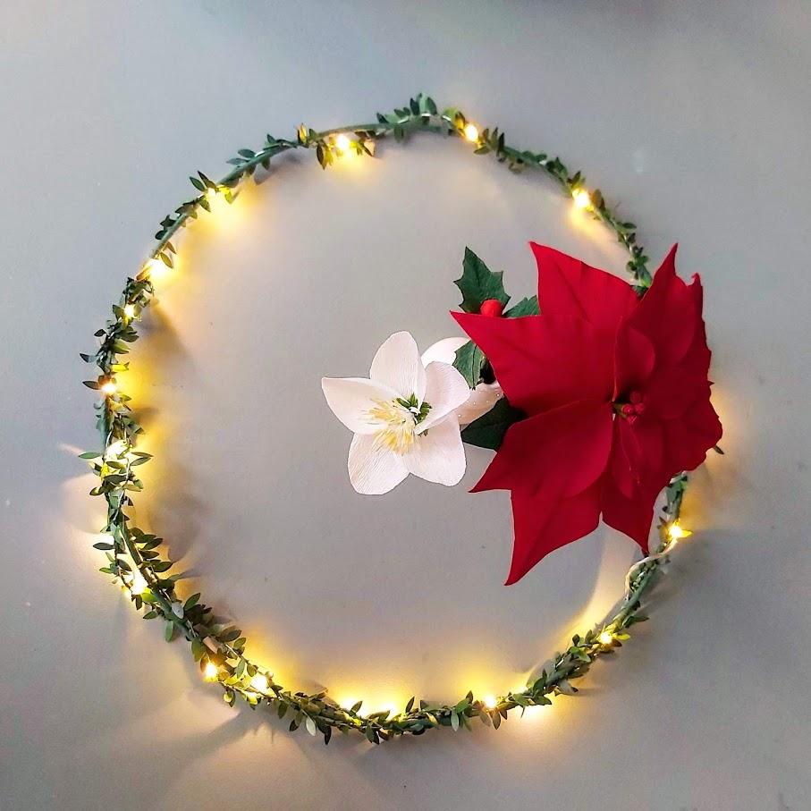 kerstkrans papieren bloemen crêpepapier